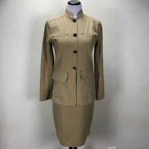 Andrea Jovine Tan Embellished Skirt Suit
